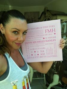 Michelle Heaton with her personalised canvas